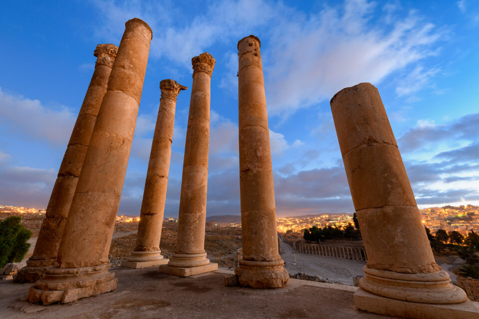 This photo, taken in Jordan, shows marble pillars at sunrise with an ultra-wide lens - the Sigma 14mm f/1.8.