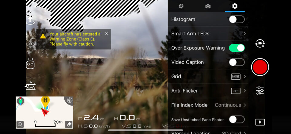 DJI Movie Settings Menu 2