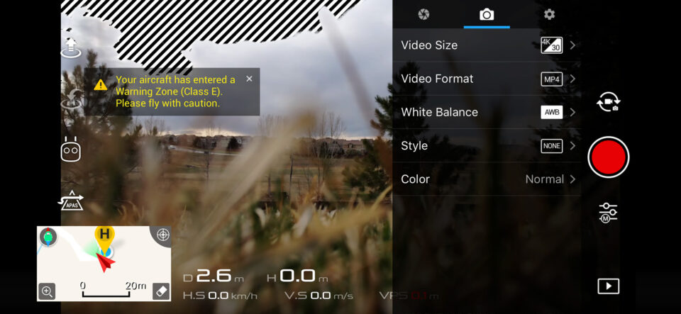 DJI Movie Settings Menu