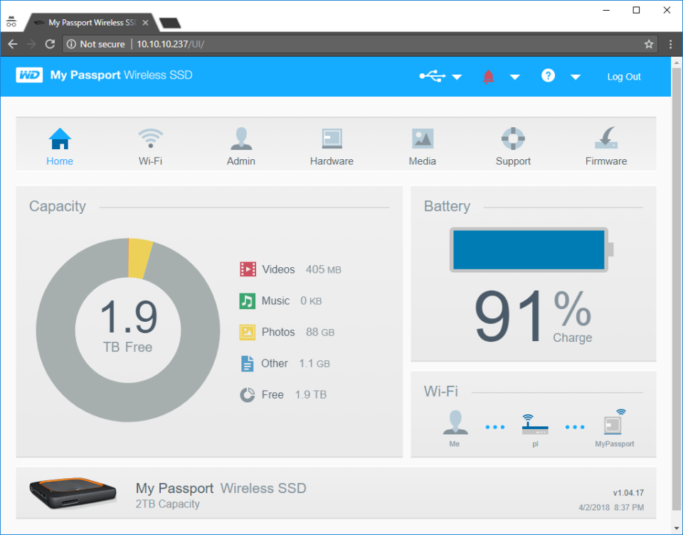 WD My Passport Wireless SSD Web Interface
