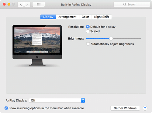 Apple Displays System Preferences