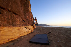 Bouldering on a Beach