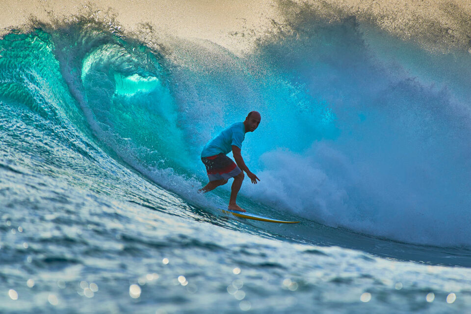 Surfer in Indonesian Waves