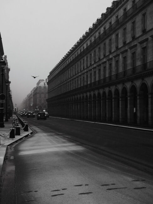 Paris Street with Snow in Black and White