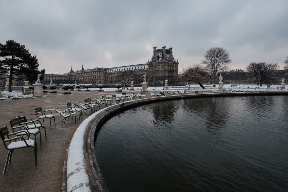Pond in Paris with Snow