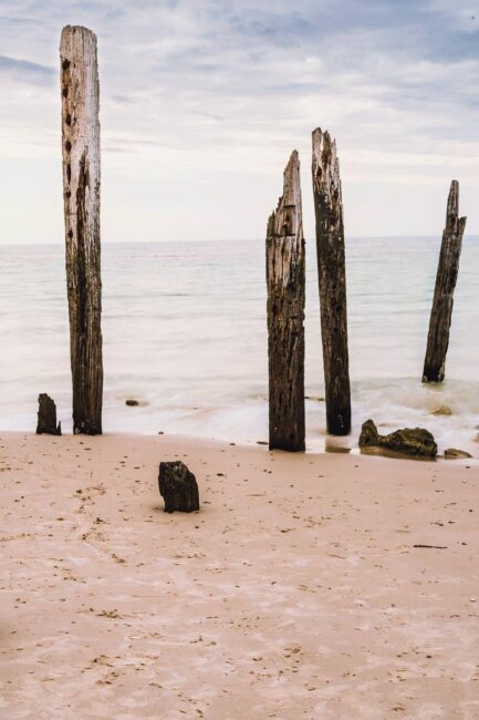 Port Willunga Beach with Old Jetty Pylons