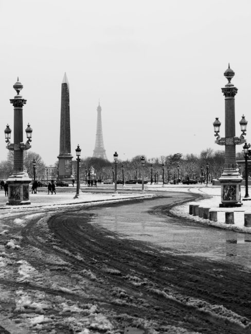 Snow in Paris with Eiffel Tower in the Background