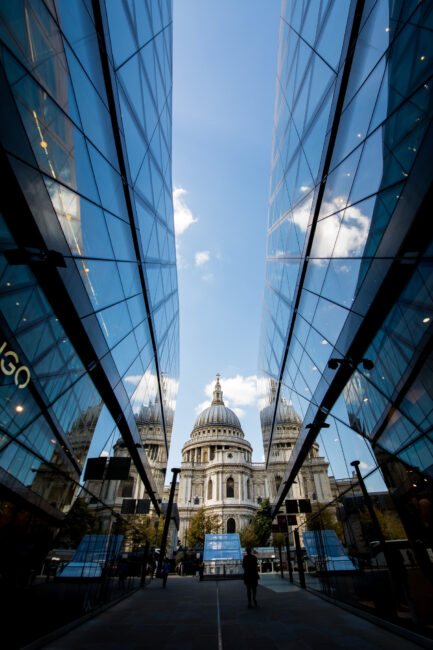 St Paul's Cathedral Reflected in One New Change Shopping Centre