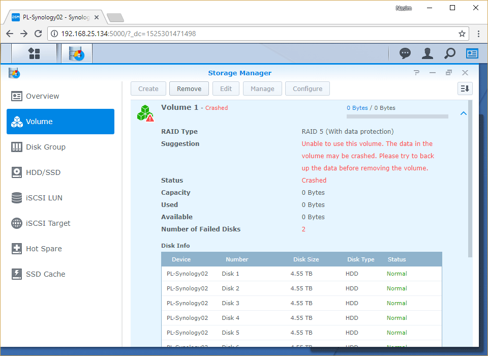 Synology Storage Manager Remove Crashed Volume