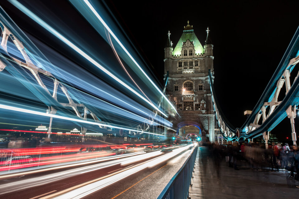Tower Bridge London Light Trails