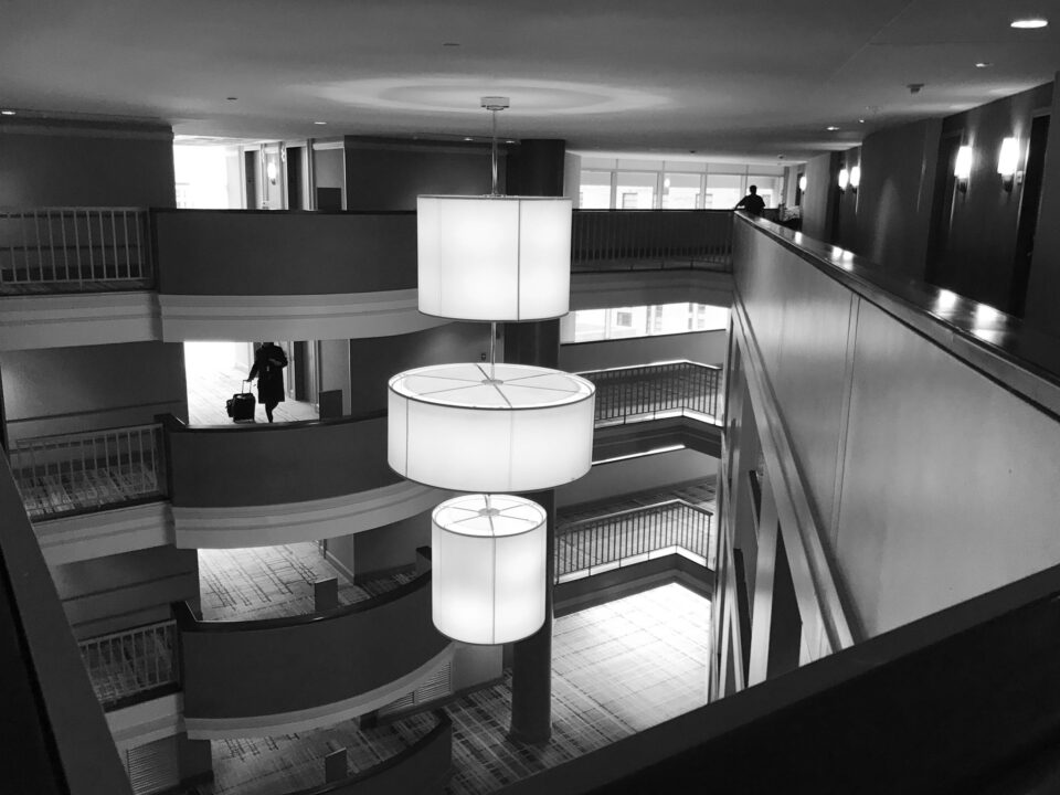 Black and White Photo Inside Hotel