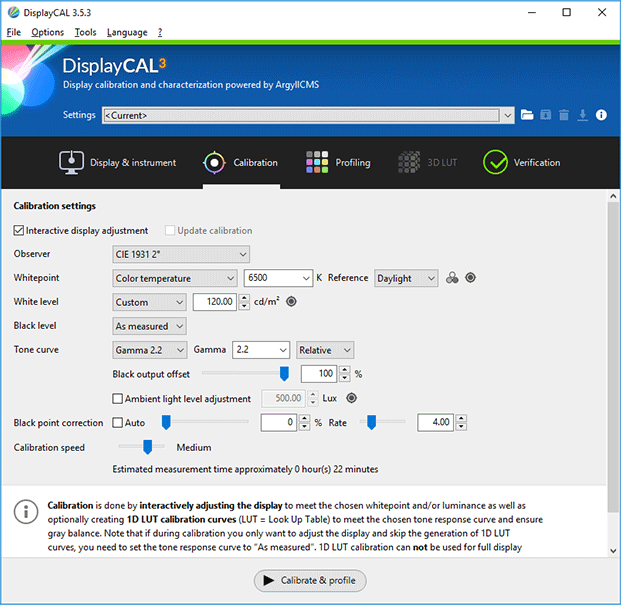 DisplayCAL Calibration Tab