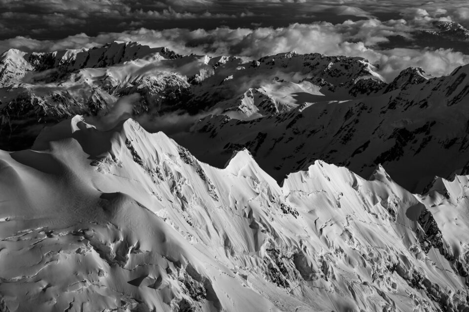 Aerial Mountain Black and White