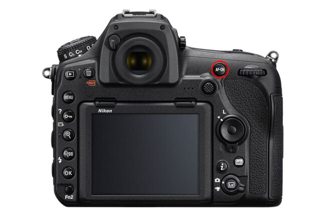 This image of a DSLR has the AF-On button circled, showing how to turn on back button focusing.