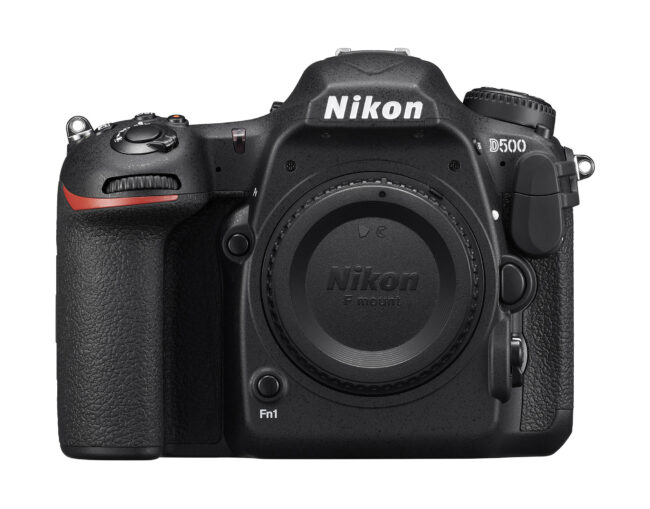 This Nikon camera is the D7500, a professional DSLR intended for sports photography on a budget.