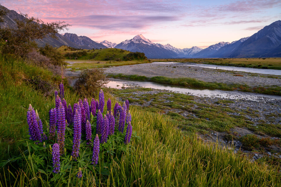 A wide-angle image of a New Zealand landscape captured at small aperture of f/11