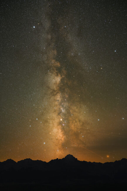 The Milky Way is actually a dusty brown color during the middle of the night, like in this photo.