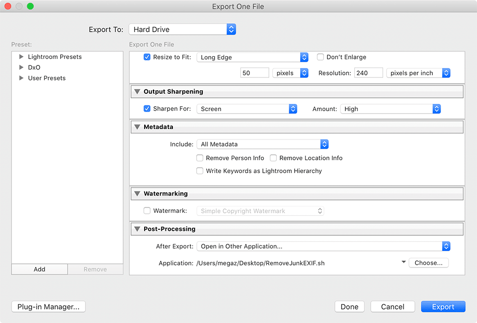 macOS Lightroom Open in Other Application