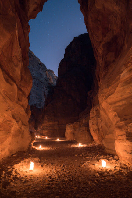 An image of Petra walkway captured in manual mode