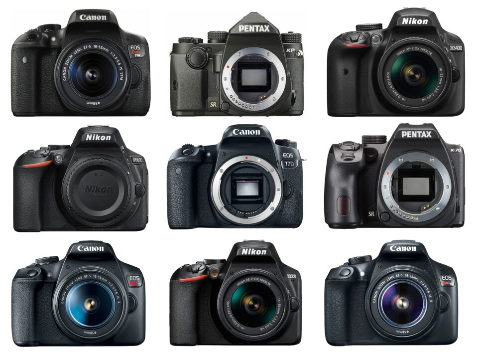 An entry-level DSLR is the perfect first camera for a beginner photographer. This image shows nine current beginner DSLRs.