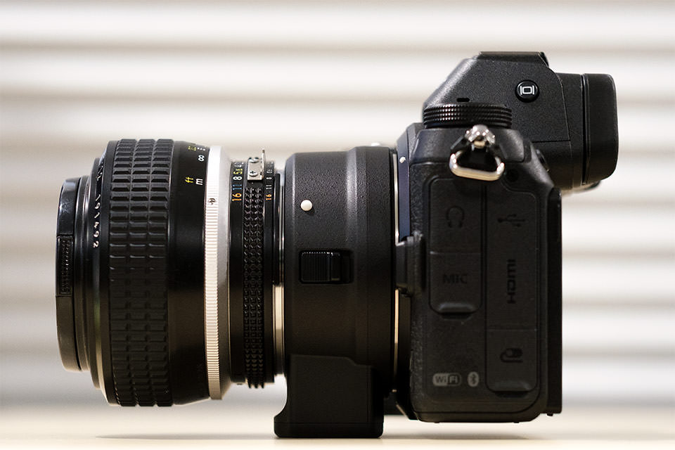Nikon Z7 with FTZ Adapter Side View