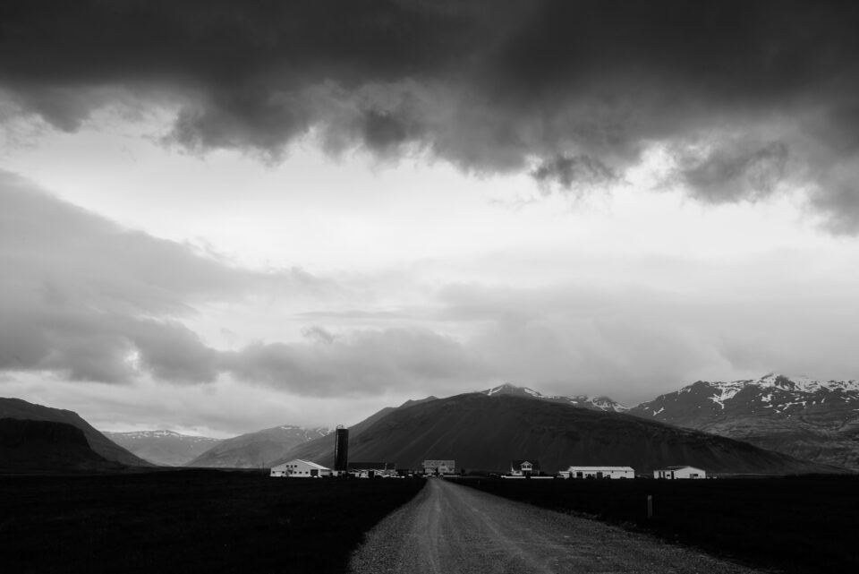 Black and White Storm Clouds in Icelandic Landscape