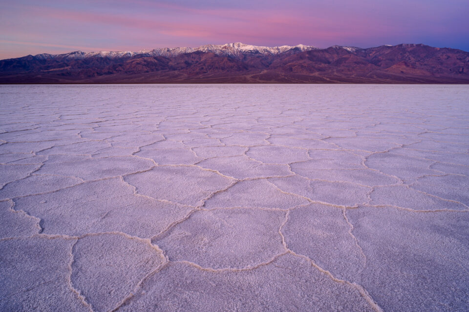This sample photo from the Nikon Z6 shows the Salt Flats in Death Valley National Park at sunrise. Because of the Z6's light weight, it works very well for travel photography.