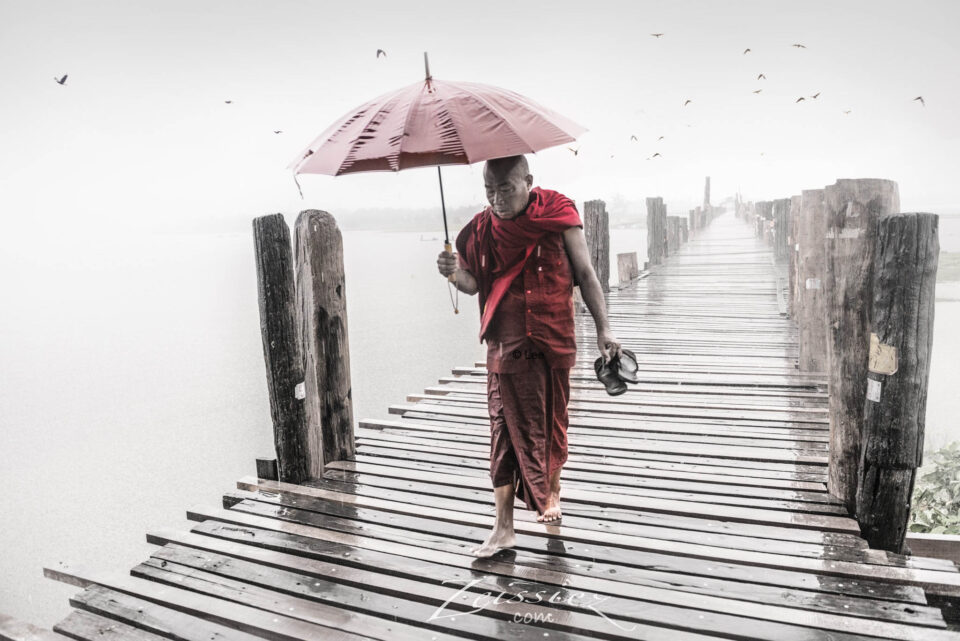 U-Bein Bridge in Rain, Myanmar