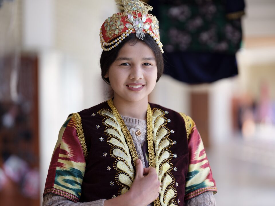 Uzbek girl dressed in traditional clothing