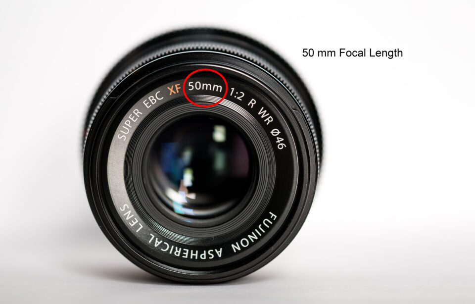 A 50mm lens, with a circle around the 50mm focal length label on the front.