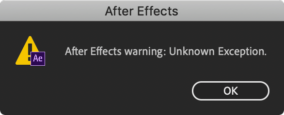 After Effects Unknown Exception
