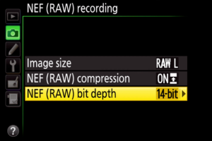 Nikon NEF Bit Depth Menu