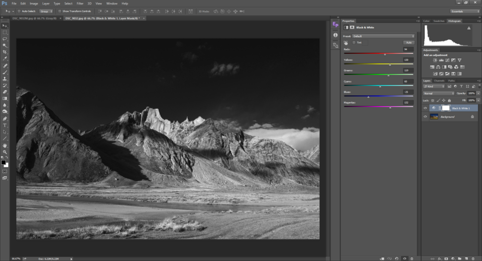 The Black and White Adjustment Tool in Photoshop is used for converting images to black and white