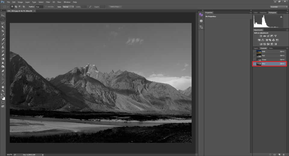 The blue channel in Photoshop color mixer is used to convert image to black and white