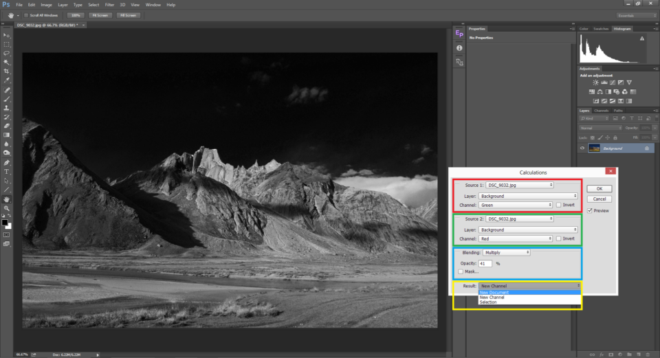 Calculations tool in Photoshop is an alternative way to convert images to Black and White