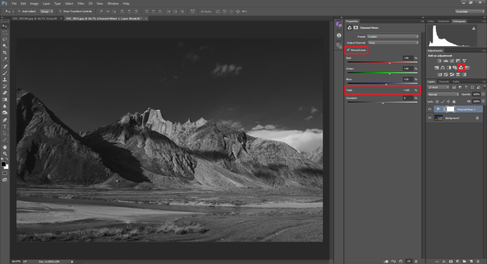 Example of Channer Mixer tool in Photoshop