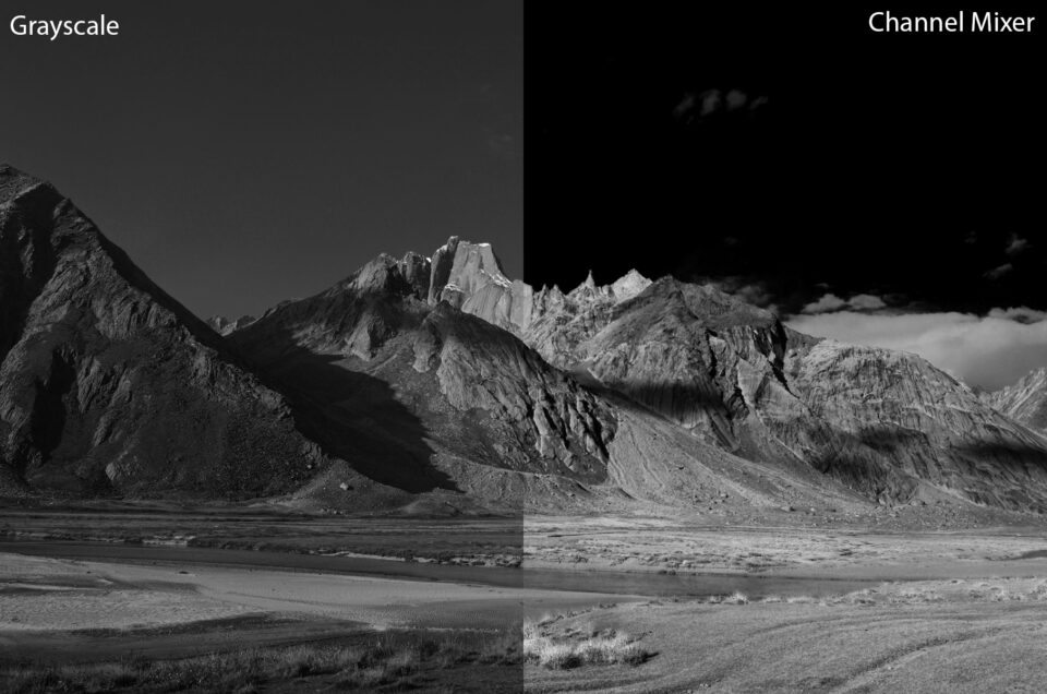 This is the difference between Grayscale conversion and conversion to black and white using the Channel Mixer tool