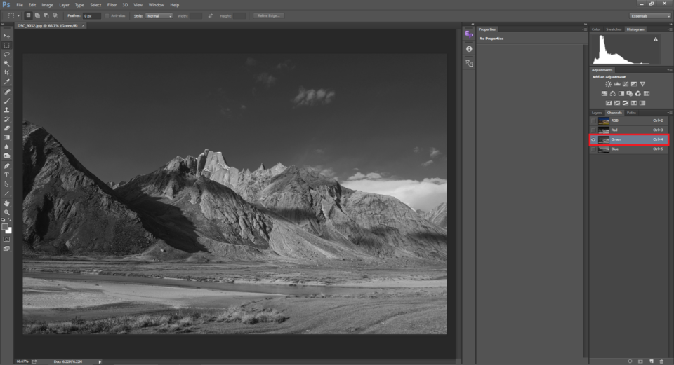 The green channel in Photoshop color mixer is used to convert image to black and white