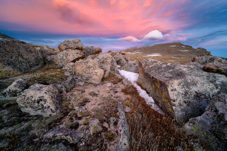 Mt. Evans at Sunset. A solid image that needed only slight adjustments in Lightroom to make it look good.