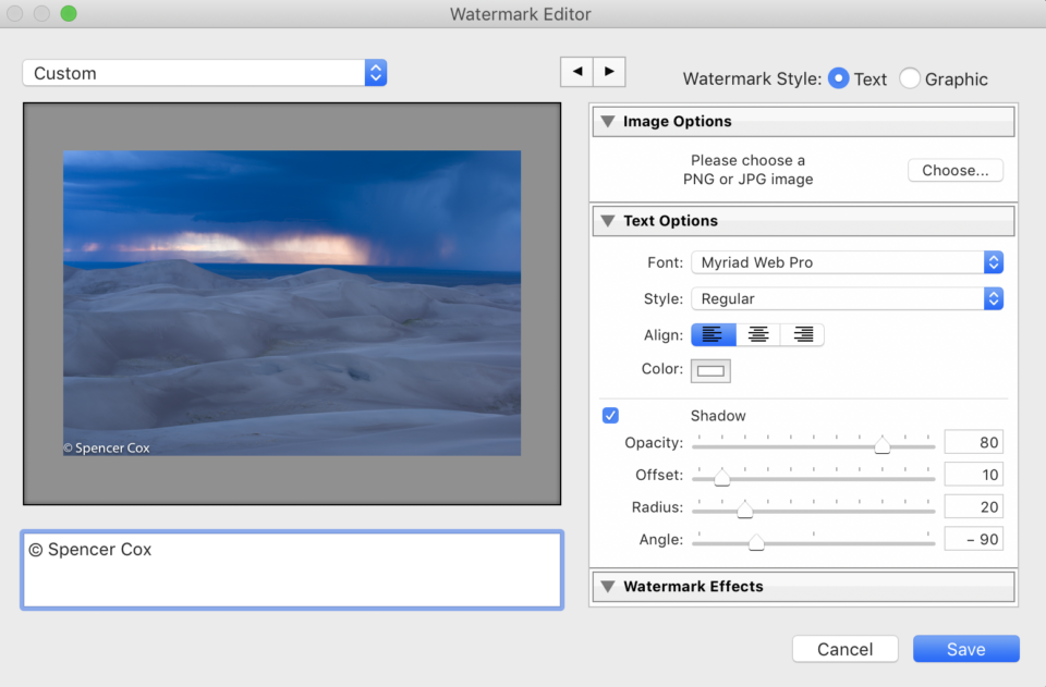 Lightroom Watermark Dialog