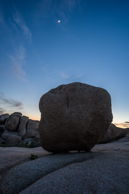 I took this landscape photo of a boulder at night with the Nikon Z7, a lightweight mirrorless camera that works well for landscape and travel photography.