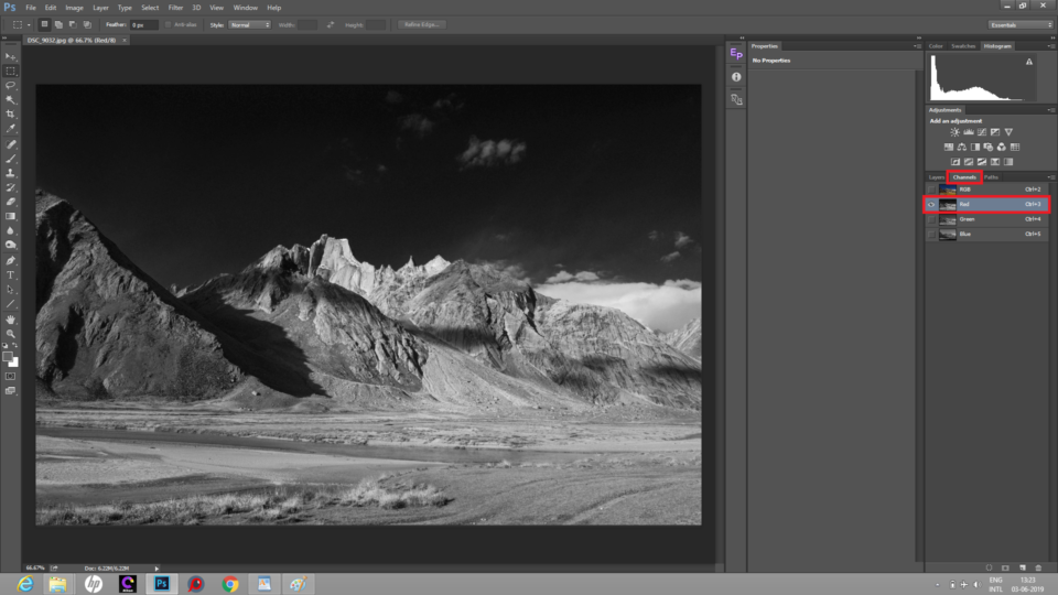 The red channel in Photoshop color mixer is used to convert image to black and white