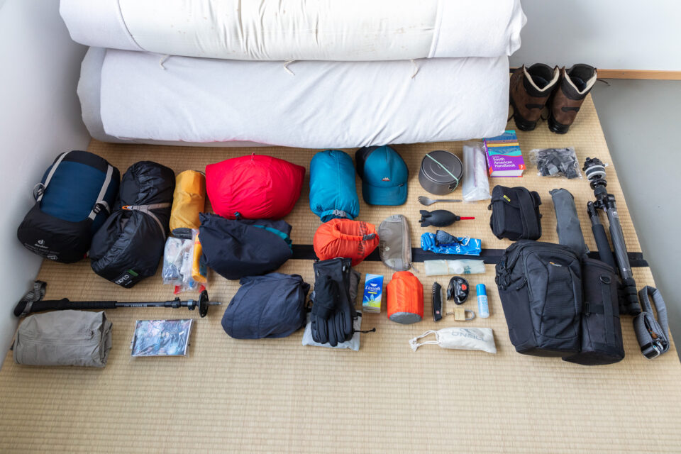 Camera and hiking equipment for an eight-month trip through South America