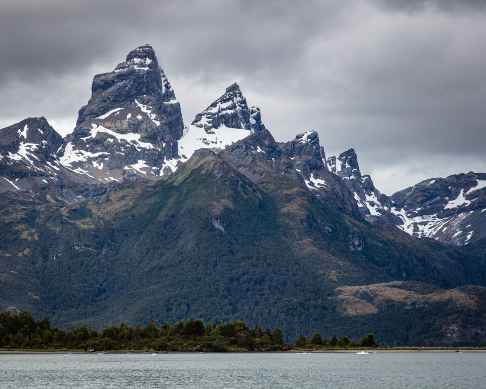 Mountains over the water in Patagonia