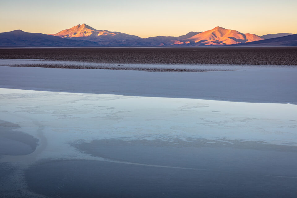 It was so cold in Patagonia at 4000 meters that even this salt lake froze overnight.