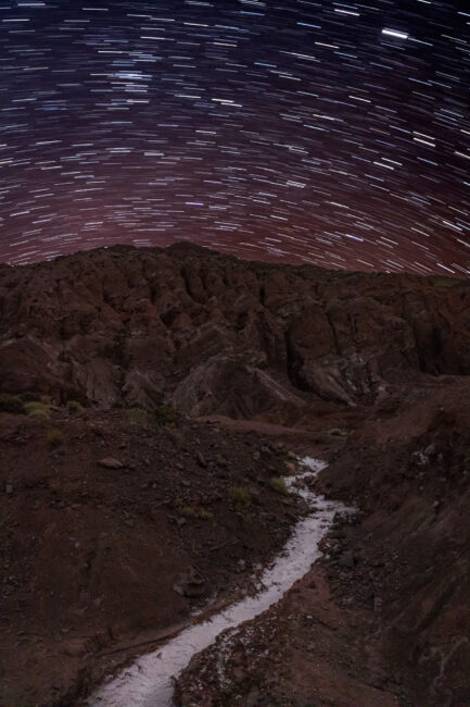 Star Trails over salt lakes in the Atacama Desert, near San Pedro