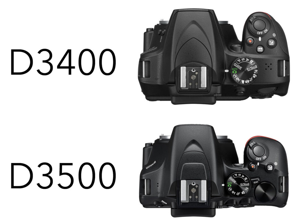 D3400 vs D3500 top view. This image compares the size and different grips on the Nikon D3400 and D3500 DSLRs.