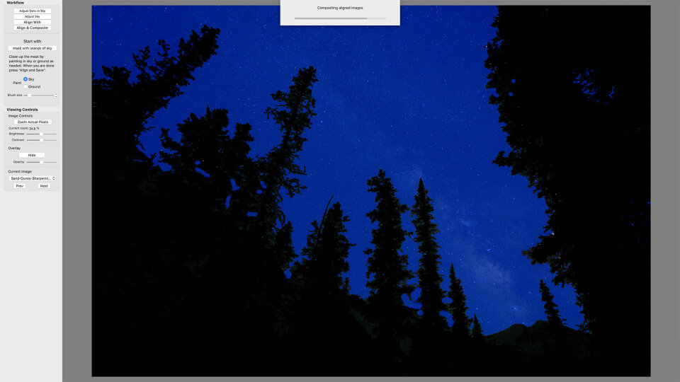 In this screenshot, you can see that Starry Landscape Stacker did not perfectly mask one tricky area of the trees. You will need to manually correct masking issues like this.