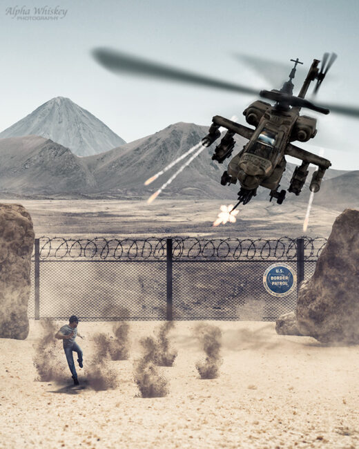 Apache helicopter shooting