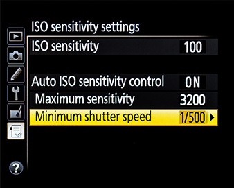 Auto ISO minimum shutter speed setting